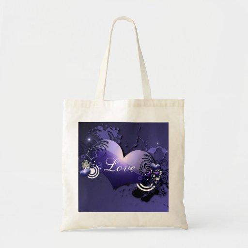 la bolsa de asas azul del corazón
