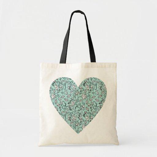 La bolsa de asas azul del corazón del amor de la f