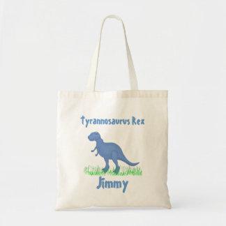 La bolsa de asas azul del dinosaurio del dibujo an