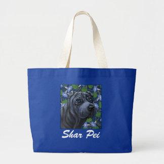 La bolsa de asas azul del perro de Shar Pei