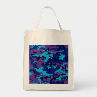 La bolsa de asas azul marino y púrpura del