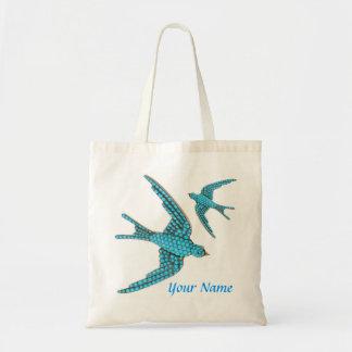 La bolsa de asas azul moldeada del papel de regalo
