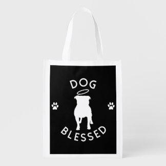 "La bolsa de asas bendecida ""perro"" de Resusable Bolsas Reutilizables"