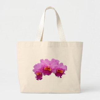 La bolsa de asas blanca adornada con las orquídeas
