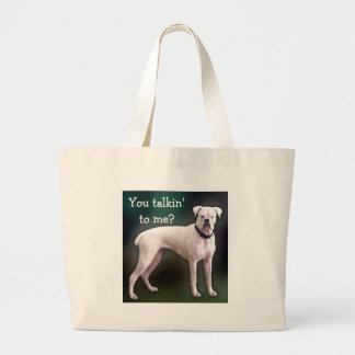 La bolsa de asas blanca del perro del boxeador