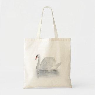 La bolsa de asas blanca del presupuesto del cisne
