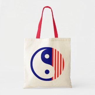 La bolsa de asas blanca y azul roja de Yin Yang