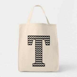 """La bolsa de asas blanco y negro de Chevron """"T"""""""