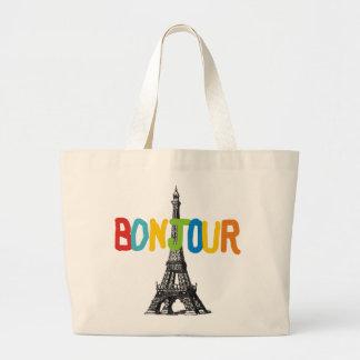 La bolsa de asas Bonjour de la torre Eiffel