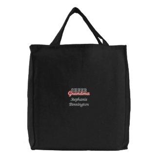 La bolsa de asas bordada abuela personalizada de