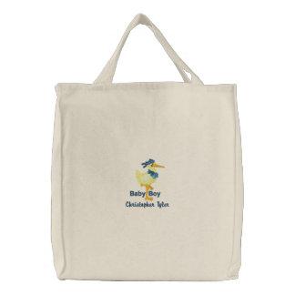 La bolsa de asas bordada bebé personalizada de la