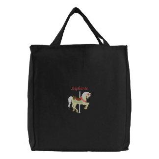 La bolsa de asas bordada caballo personalizada del