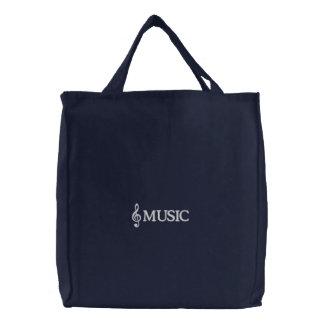 La bolsa de asas bordada de la música de la marina