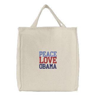 La bolsa de asas bordada de Obama del amor de la p