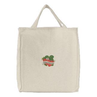 La bolsa de asas bordada etiqueta de la fresa del