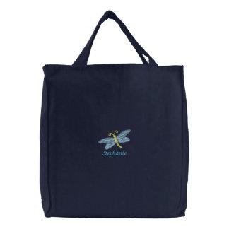 La bolsa de asas bordada libélula personalizada de