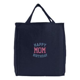 La bolsa de asas bordada mamá del feliz cumpleaños