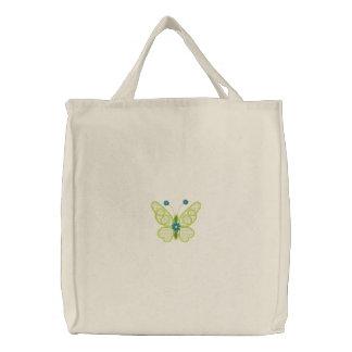 La bolsa de asas bordada mariposa simple de la lon
