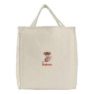 La bolsa de asas bordada niña linda personalizada