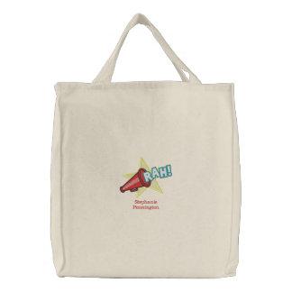 La bolsa de asas bordada nombre personalizada de l