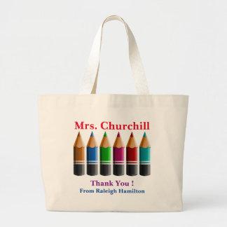 La bolsa de asas coloreada del profesor de los