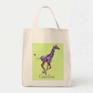 la bolsa de asas colorida de la jirafa del bebé