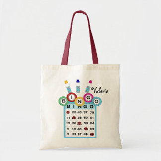 La bolsa de asas colorida del bingo del texto de