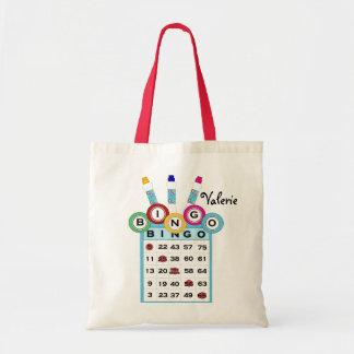 La bolsa de asas colorida del bingo del texto de e