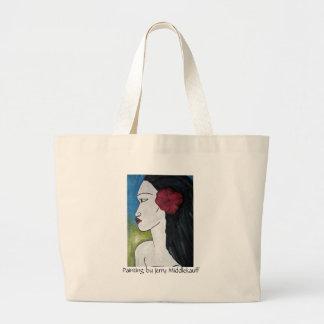 La bolsa de asas con la pintura de la mujer poline