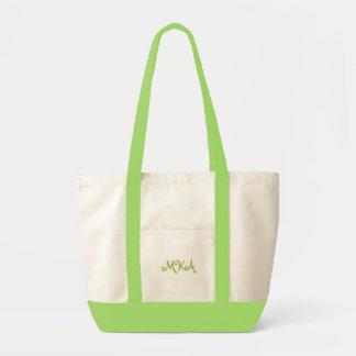 La bolsa de asas con monograma de la verde lima de