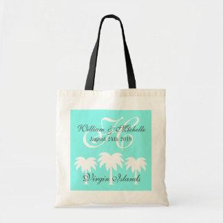 La bolsa de asas con monograma del boda del