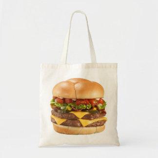 La bolsa de asas de compras de la hamburguesa del