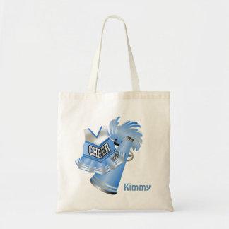 La bolsa de asas de encargo azul de la lona de la