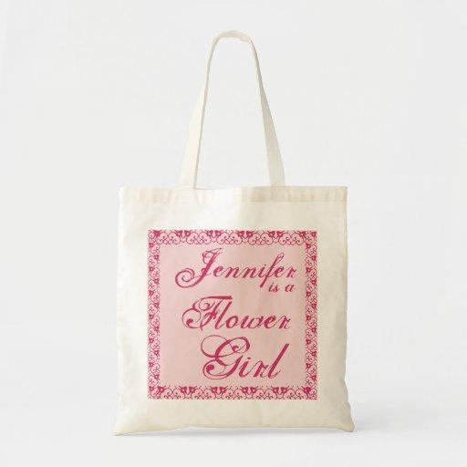 La bolsa de asas de encargo ROSADA del boda del fl