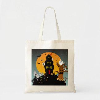 La bolsa de asas de Halloween de la casa encantada