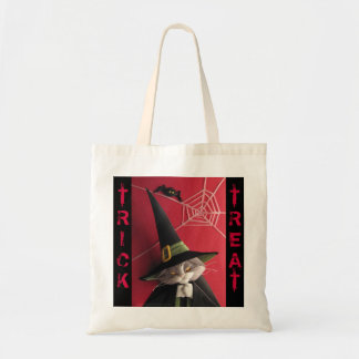 La bolsa de asas de Halloween del gato de la bruja