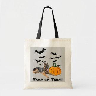 La bolsa de asas de Halloween del pastor alemán