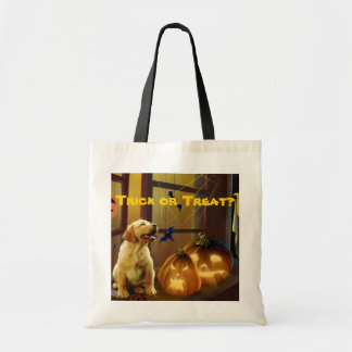 La bolsa de asas de Halloween del perrito del labr