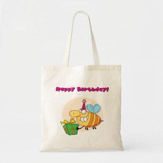 La bolsa de asas de la abeja del feliz cumpleaños