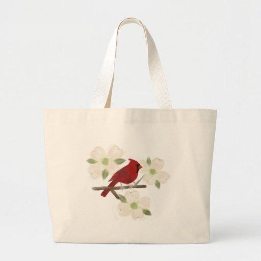 La bolsa de asas de la acuarela del cardenal y del