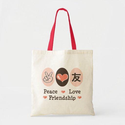 La bolsa de asas de la amistad del amor de la paz