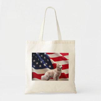 La bolsa de asas de la bandera americana del golde