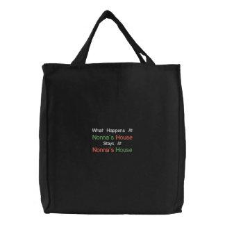 La bolsa de asas de la casa de Nonna bordado negro