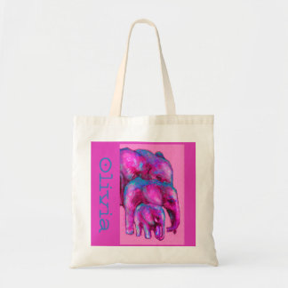 la bolsa de asas de la familia del elefante rosado