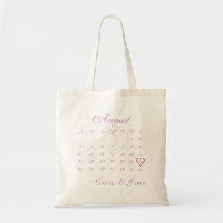 La bolsa de asas de la fecha del boda