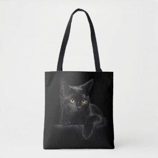La bolsa de asas de la impresión del gato negro