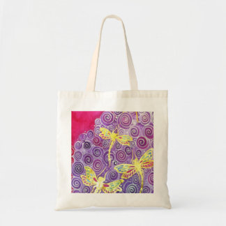 La bolsa de asas de la libélula: Pintura de seda o