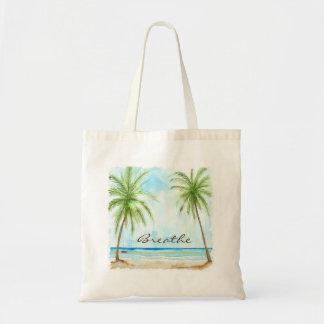 La bolsa de asas de la lona de las palmeras