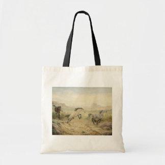 La bolsa de asas de la lona de los caballos salvaj