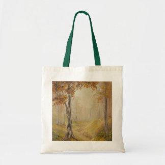 La bolsa de asas de la lona de maderas del otoño